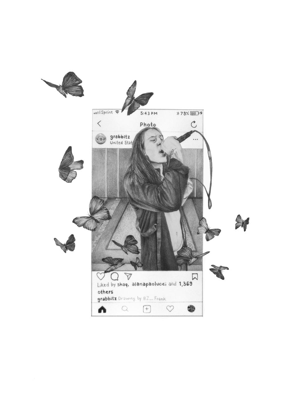 Grabbitz Instagram with Butterflies drawing