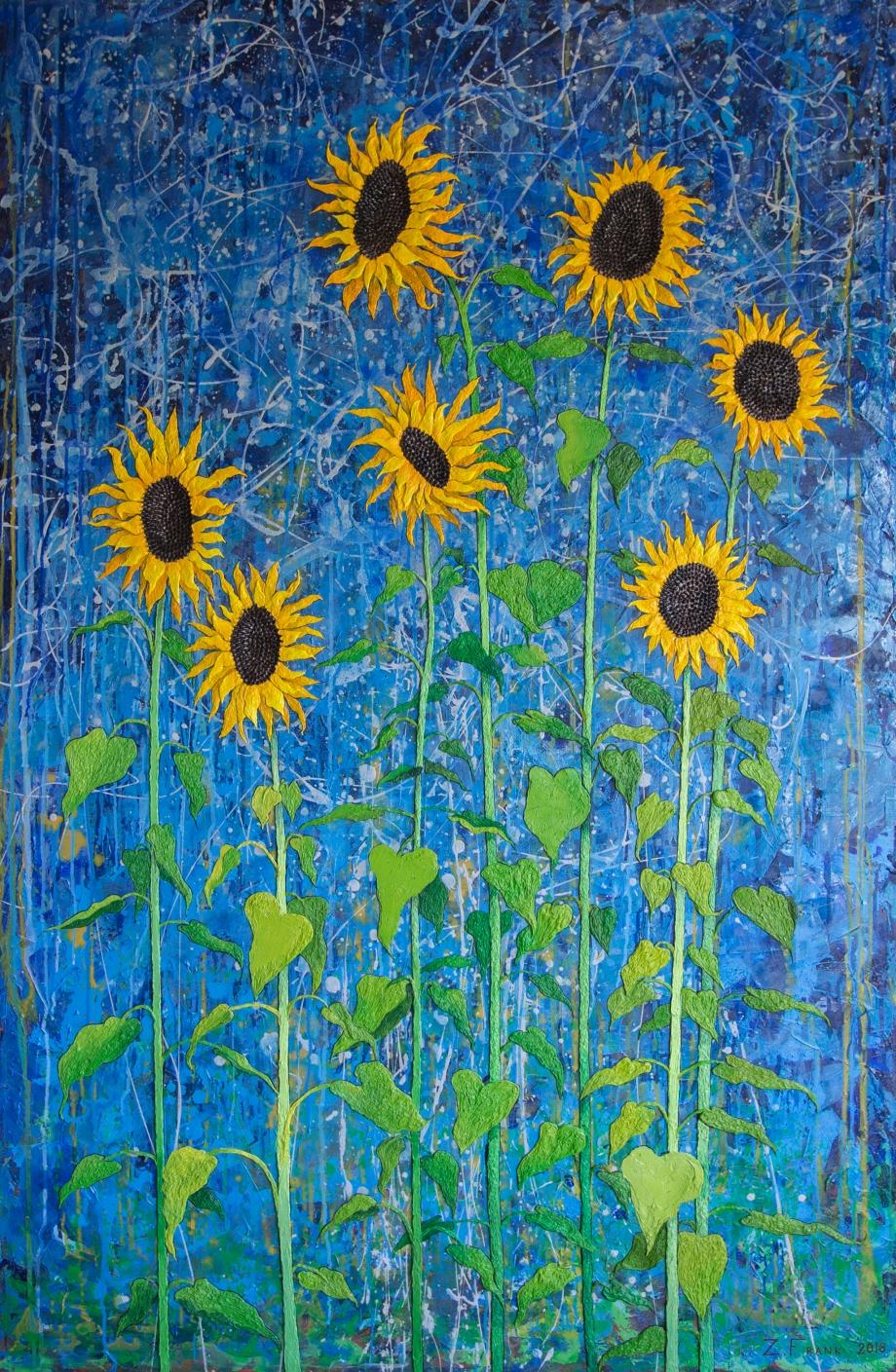 Seven Lucky Sunflowers